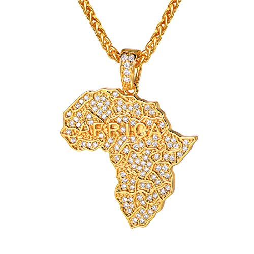 U7 18K Gold Plated, Ice Out Africa Map Pendant & Wheat Chain Necklace, with Africa Words and Full Cubic Zirconia, Trendy Gift for Men/Women Ethiopian Jewellery African Necklace, P3590K