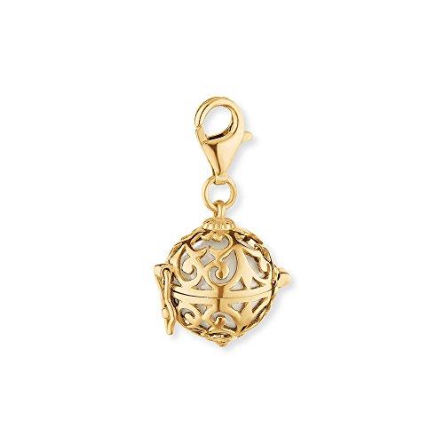 Engelsrufer Classic Charm für Damen mit weißer Klangkugel vergoldetes 925er-Sterlingsilber Größe 14 mm