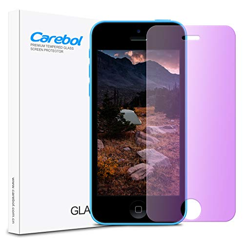 """Carebol Anti Blue Light Tempered Glass Screen Protector for iPhone 5/5s/iPhone 5c/ [SE-1st Gen] 4"""" inch Eye Protect,Explosion-Proof Screen,High Definition [1 Pack]"""