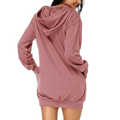 Women Hoodies Jumper Long Sleeve Oversized Casual Pockets Tunic Pullover Sweatshirt Mini Dress Long Hooded Tops Plus Size Sweatshirt Long Tops Dress Pink