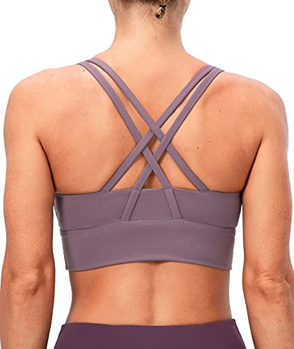 Lavento Women's Strappy Sports Bra Long Line Medium Support Energy Workout Training Top(X-Large,2026 Mauve Taupe)