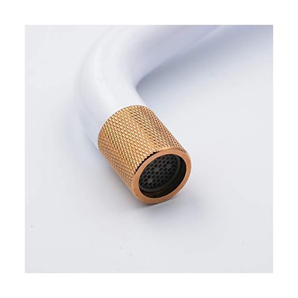 Leekayer Grifo del lavabo del baño Pintura blanca Grifos de montaje de 1 orificio Interruptor simple Lavabo con acabado…