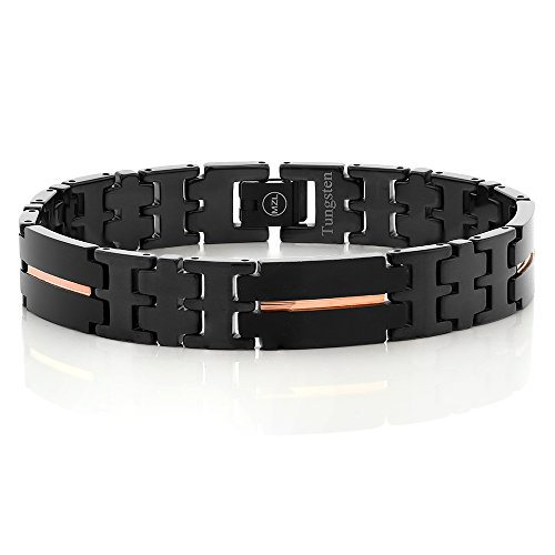 NEW Black Plated Tungsten Carbide Men's Bracelet with Rose Gold IP Stripe