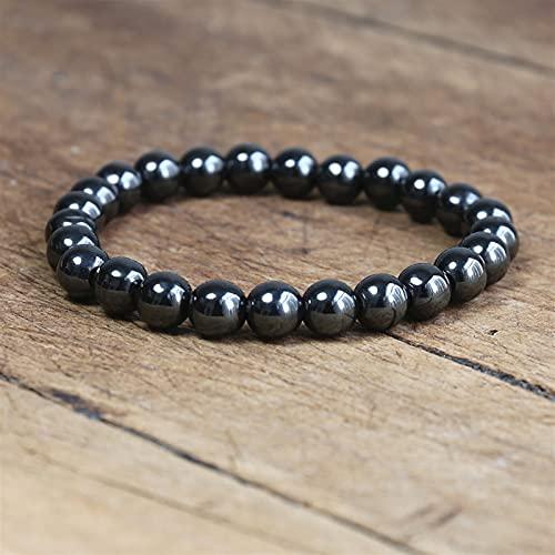 ACEACE Magnetic Bracelet Beads Hematite Stone Magnet Beads Bracelet Men's Jewelry (Metal Color : 6mm women size)