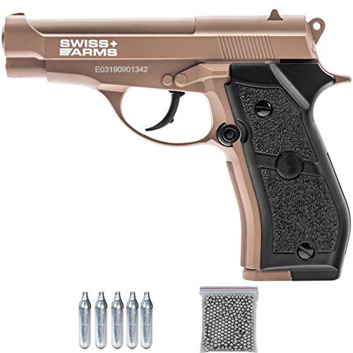 Swiss Arms SA 84 Tan CO2 (Full Metal) | Pistola de balines de Acero (perdigones Tipo BB's) y Aire comprimido semiautomática Tipo Beretta 84 Calibre 4.5mm