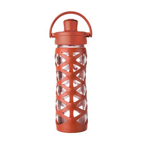 Lifefactory 16353 Glas-Trinkflasche mit Active Flip Cap, golden gate orange, 475 ml