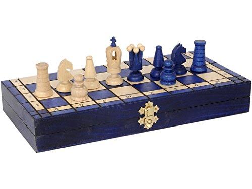 Juego Ajedrez Madera Plegable Azul 36 cm