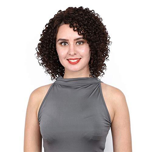 EVFIT Pelucas llenas Peluca de Encaje Frontal Pequeño Rollo Mano Tejida para Mujer Europeo y Americano Peluca Negra. (Color : Black, Size : 36cm)