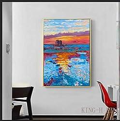 crjzty DIY Malen nach Zahlen-digitales malen für einsteiger Vintage Ölgemälde Sonnenaufgang malen Moderne abstrakte Dicke Ölgemälde dekorativ an der Wand des Wohnzimmers gemalt auf der-xC