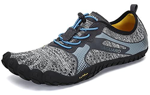 SAGUARO Hombre Mujer Zapatillas Barefoot Minimalistas Calzado de Training Ligeras Cómodas para Caminar Senderismo Ciclismo Trail Running Trekking Playa Agua Exterior Interior, Moneda Gris, 42