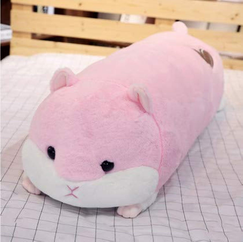 XXCKA Niedlichen pink Hamster Plüsch Puppe Puppe Schlafpuppe Kissen Langen Streifen 90cm