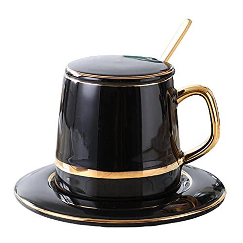 Taza de cerámica nórdica de lujo con cuchara Taza minimalista Simplicidad Juego de taza y platillo de alta calidad Tazas de café
