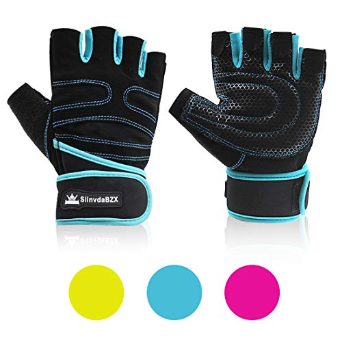 SiinvdaBZX Workout Gloves Non-Slip Gym Gloves Weight Lifting Gloves with Wrist Support for Man & Woman Gym Powerlifting, Fitness Exercise, Bodybuilding, 8, Medium Size, Blue & Black