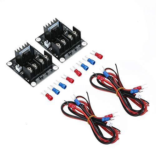 youth 2pcs 3D Printer Hotbed Heating Controller Heated Bed Power Expansion MOS Module Compatible for Anet A8 A6 A2 3D Printer for DIY Soldering and Electronic Project (Color : Black, Size : 2)