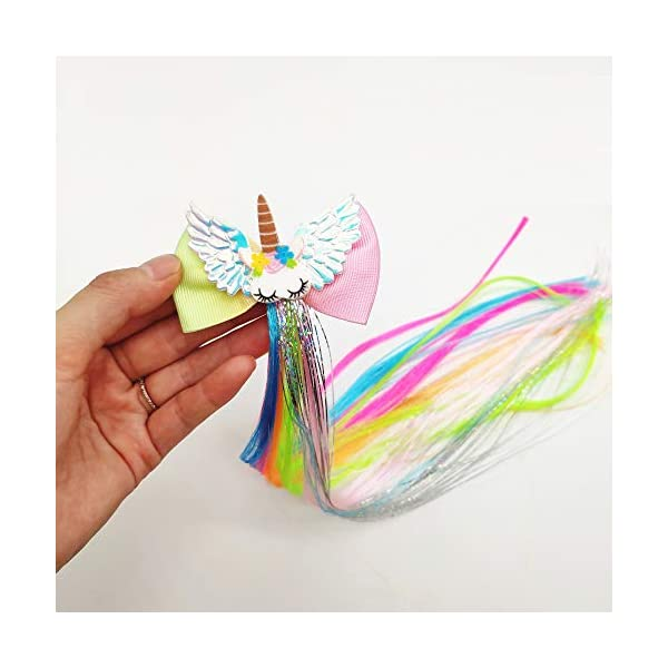 Sunormi 4 Pcs Multi-Colors Princess Kids Hair Clips In 15 Inch Straight Synthetic Hair Extensions Unicorn Butterfly Ponytails Hair Hairpieces For Girls Daily Dress Up 6
