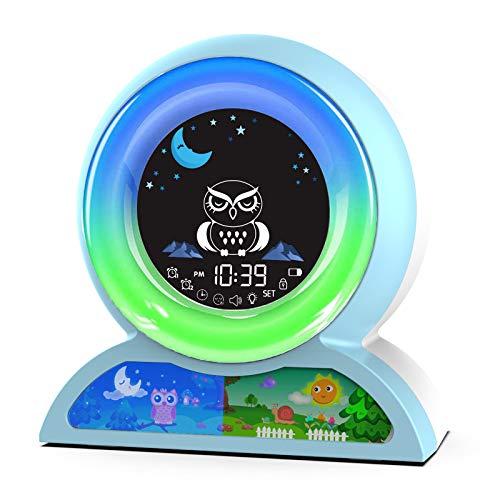 Kids Alarm Clock, Digital Dual Alarm Clock for Kids Boys Girls Bedroom, Children's Sleep Trainer, Sleep Sound Machine with 5 Color Night Light, Nap Timer, Great Gift for Toddlers Brithdays