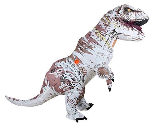 Zi Xi & Zi Qi T-Rex aufblasbare Dinosaurier-Maskottchen-Partei-Kostüm-Abendkleid Cosplay Outfit Adult (Weiß)