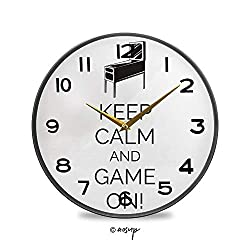 YOLIYANA Non-Ticking Acrylic Decorative Round Wall Clock Pinball Machine Arcade Room Concept Keep Calm and Game on Fun Vintage Rustic Country Tuscan Style Home Decor Round Wall Clock 11.9