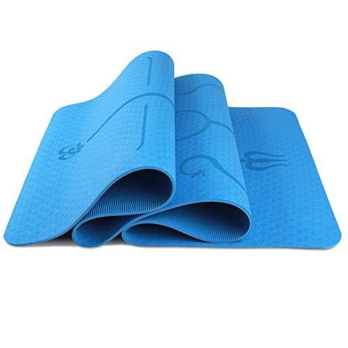 Esterilla de yoga TPE línea de postura 6 mm para principiantes, gruesa, extendida y alargada, antideslizante, para fitness, deportes, yoga, Negro