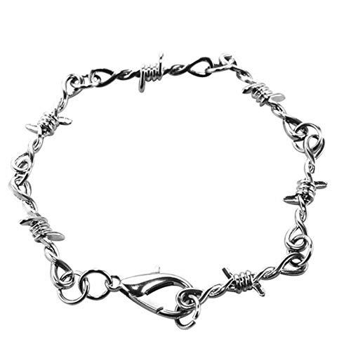 XinLuMing 1 Set Herren Punk Gothic Halsketten Armbänder Set Legierung Stacheldraht Brombeeren Hip-Pop Choker Armreif (Color : A)
