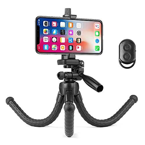Hemmotop スマホ 三脚 くねくね どこでも固定可能 3way雲台 ミニフレキシブル三脚 iPad 対応 軽量 コンパクト カメラ三脚 耐荷重1kg 卓上三脚 自撮り スマホスタンド 360度回転