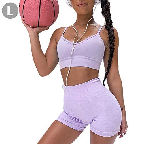 wonderday yoga-sets voor dames, beha + shorts voor dames, reflecterend, modieus, sexy bretels, vest, korte sportkleding voor workout hardlopen fitness