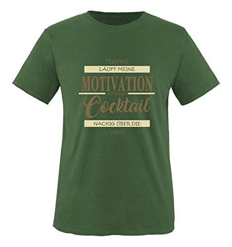 Comedy Shirts - Manchmal läuft Meine Motivation mit einem Cocktail nackig über die Wiese - Herren T-Shirt - Oliv/Hellbraun-Beige Gr. L