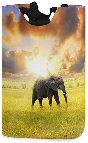 XCNGG Cesta de lavandería Plegable con Forma de Elefante Animal, Cesta de lavandería Plegable con Puesta de Sol, Bolsa Grande para Dormitorio, baño, guardería de bebé, Organizador de Juguetes