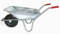 Schubkarre 100 Liter bis 250 kg Belastbarkeit, verzinkt (Gartenkarre Bauschubkarre Baukarre Gartenschubkarre für Baustelle, Stall, Garten, Laub, Bauschutt)