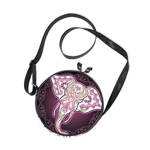 """Canvas Bags for Women: Our round bags are made of canvas material, Unique, lightweight, durable and environmental. Round Purse Dimession: Appro 7x7x1.8 inch, Leather shoulder straps length: 45"""" (115 cm), with adjustable strap, can act as handbag, sho..."""