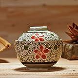 Tazón de porcelana Cubierta Estilo japonés Tazón de arroz de cerámica Estofado de agua Estofado de pájaro Tarta de huevo al vapor Tofu cerebro Postre 4.5 pulgadas