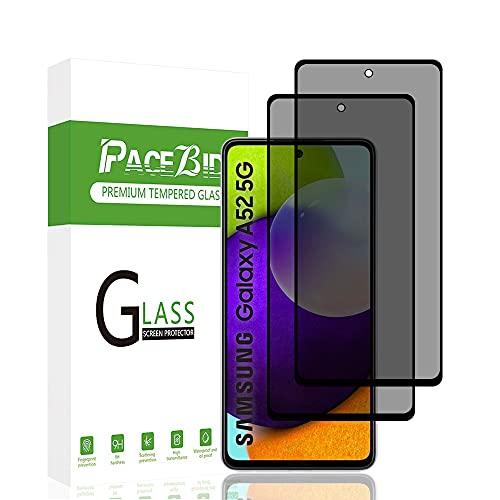 PaceBid 2 Pack Protector de Pantalla de Privacidad Compatible con Samsung Galaxy A52, [Cobertura Completa] [Anti-arañazos] [ Case Friendly] Dureza 9H Anti-Espía Cristal Vidrio Templado para Ga