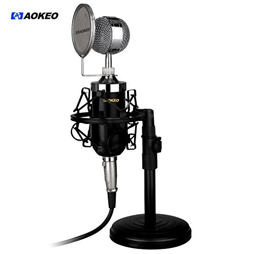 Aokeo AK-15 Desktop Broadcast & Recording Condenser Microphone with Audio Cable Bundle with Iron Desktop 4.7 - 7.5- Inch Mic Stand, Metal Shock Mount and Mic Wind Screen Filter Shied