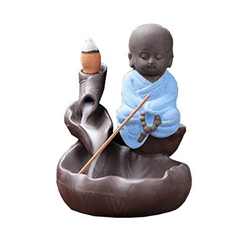 SLJJC Little Monk Incienso Quemador de Incienso de Incienso de Incienso incentible de Porcelana Hechos a Mano Soporte de Palo de la Postura para la Oficina de la decoración de la Yoga (con 50 Conos)