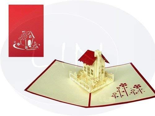 LIN-POP UP Karten Umzug Einzug, 3D Karten Grußkarten Glückwunschkarten Umzug Einzugskarten Haus