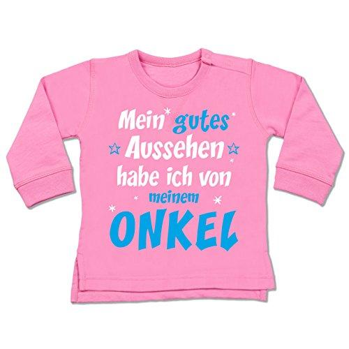 Shirtracer Sprüche Baby - Mein gutes Aussehen Onkel Junge - 12-18 Monate - Pink - BZ31 - Baby Pullover