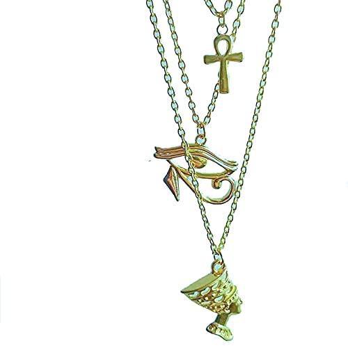 Revilium Collar En Capas para Mujer Egipto Ojo De Horus Reina Faraón Ankh Cruz Colgante Amuleto Collares Africanos Joyería Egipcia Multicapa