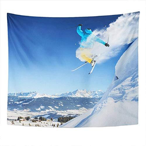Tapiz Tapiz fresco Esquiador de salto Tapiz de poliéster para dormitorio Decoración de la habitación Tapiz artístico Colgante de pared Estera de picnic Toalla de playa Cubierta de cama 150x130cm