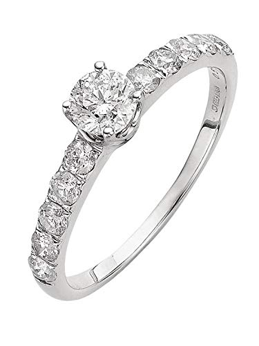9 Karaat Wit Goud 1 Karaat Diamant Solitaire en Set Schouders Ring