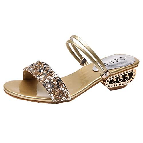 Zapatillas para mujer, deslizadores de playa con punta abierta para interior, diamantes de imitación de primavera y verano, zapatos de jardín para el hogar