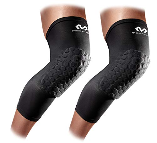 Knee Compression Sleeves: McDavid Hex Knee Pads Compression Leg Sleeve for Basketball, Volleyball, Weightlifting, and More - Pair of Sleeves, BLACK, Adult: LARGE