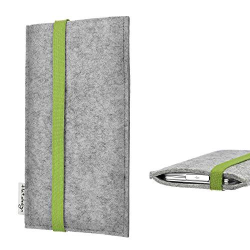 flat.design Handy Hülle Coimbra kompatibel mit BlackBerry KEY2 Red Edition maßgefertigte Handytasche Filz Tasche fair grün hellgrau