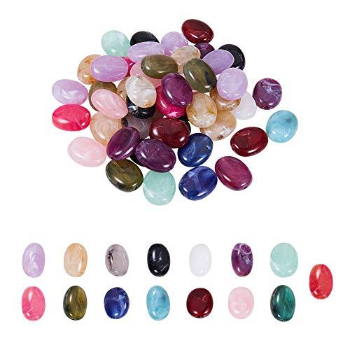PandaHall Elite 150 cuentas de acrílico ovaladas de imitación de 15 colores, cuentas separadoras para collares, pendientes, pulseras, colgantes, bisutería.