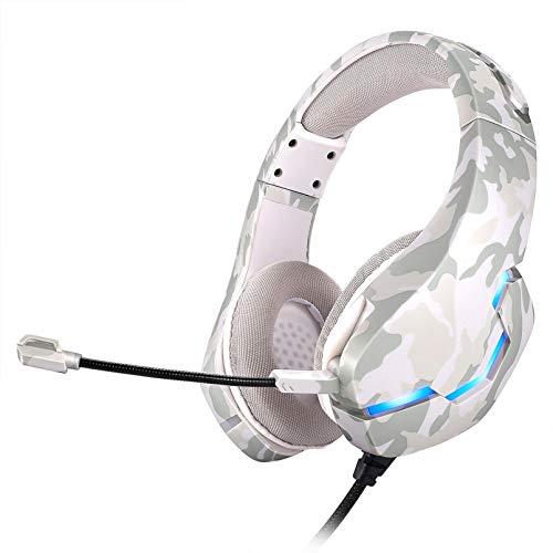 LRWEY Casque Filaire, Gamer Headphone, Headset Anti Bruit Audio Stéréo Basse avec Micro 3.5mm Jack pour Jeux Vidéo PC Xbox One Laptop Tablette (White)
