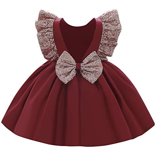 FYMNSI Robe de princesse pour bébé fille - Robe de soirée, de mariage, de demoiselle d'honneur - Robe de premier anniversaire. - Rouge - 12-18 mois
