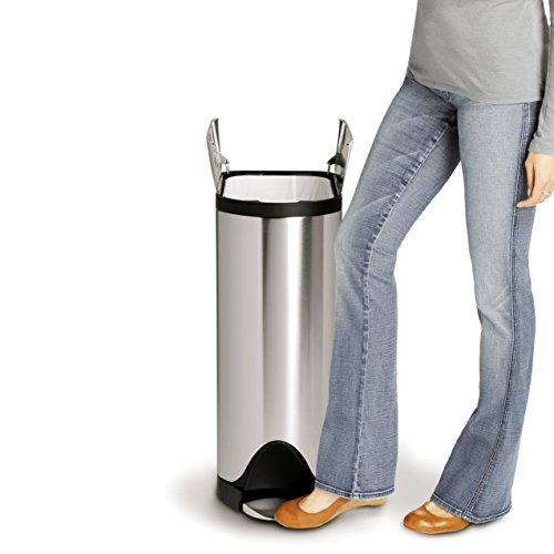 simplehuman 45 Liter / 11.9 Gallon Stainless Steel Butterfly Lid Kitchen Step Trash Can, Brushed Stainless Steel