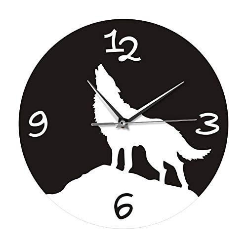 Reloj de pared Alpha Hombre Aullido Lobo Reloj de pared Decoración de Pared Wildlife Animal Woodland Wolf Tetom Wall Art Decorativo Reloj de Pared Reloj Colgante