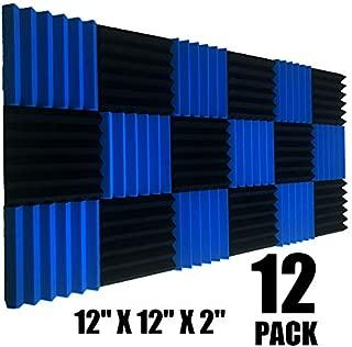 12 Pack Wedge BLUE/Black Acoustic Soundproofing Studio Foam Tiles 2