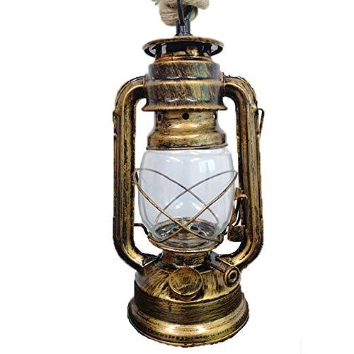 CAGYMJ Petroleumlampe Pendelleuchte,Retro Messing Lampe Europäischen Stil Hanfseil Einzelkopf Kronleuchter,Restaurant/Café/Bar/Wohnzimmer/Schlafzimmer