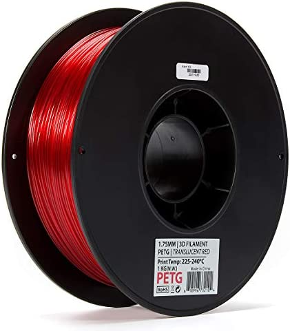 Inland 1 75mm Translucent Red PETG 3D Printer Filament 1kg Spool 2 2 lbs product image